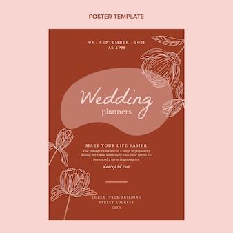 手描きの結婚式のポスターテンプレート