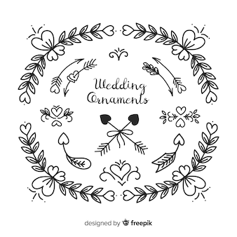 Hand drawn wedding round ornament collection
