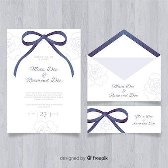 Hand drawn wedding stationery template collection