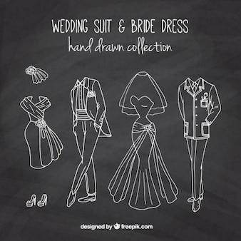 칠판 효과에 손으로 그린 결혼식 양복과 신부 드레스