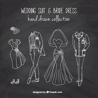 Hand drawn wedding suit and  brid dress in chalkboard effect
