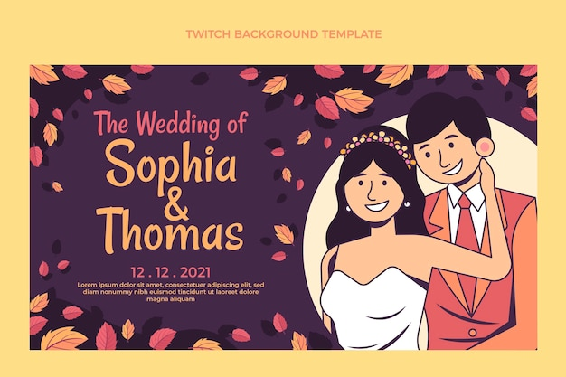 手描きの結婚式のけいれん背景