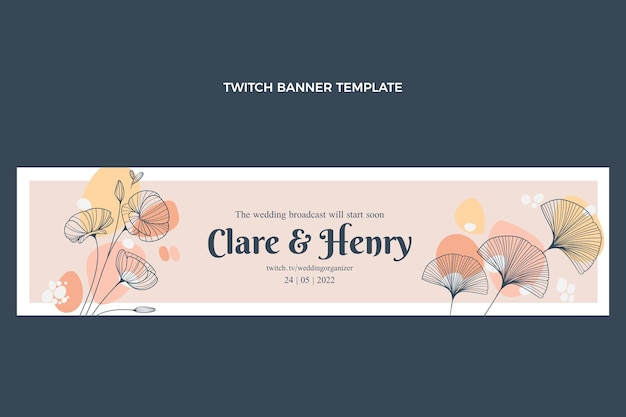 Hand drawn wedding twitch banner