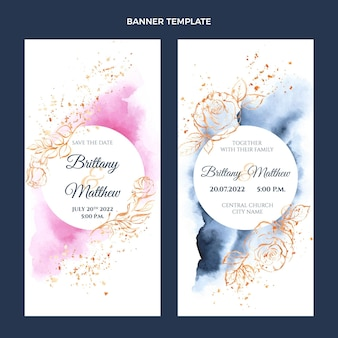 Bandiere verticali di nozze disegnate a mano