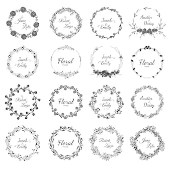 Hand drawn wedding wreath collection for wedding.
