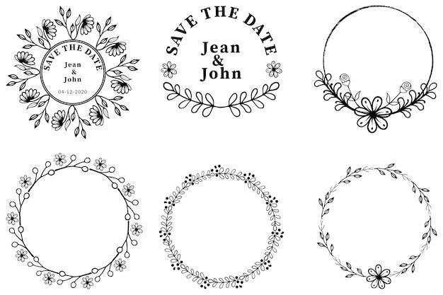 Hand drawn wedding wreath