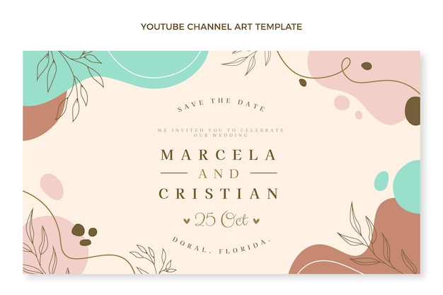 手描きの結婚式のyoutubeチャンネルアート