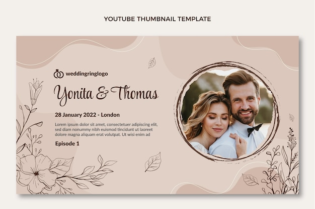 Miniatura di youtube di matrimonio disegnata a mano