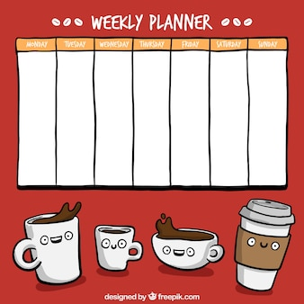 Hand drawn weekly planner with coffee cups drawings
