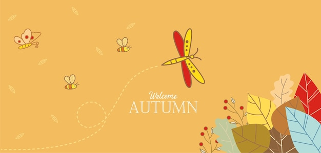 Hand drawn of welcome autumn