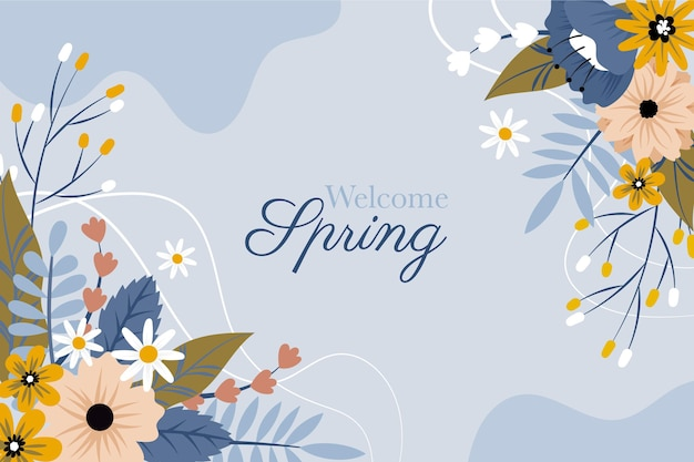 Hand drawn welcome spring flowers background
