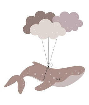 보육 장식을 위한 구름이 있는 손으로 그린 고래