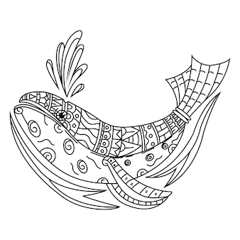 Hand drawn of whale in zentangle style