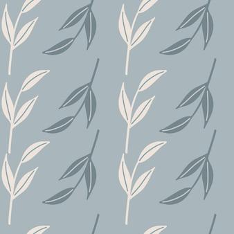 手描きの白と青のシンプルな葉の枝のシルエットのシームレス パターン