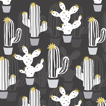 Hand drawn white cactus vector