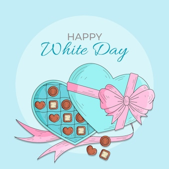 Hand drawn white day with chocolate