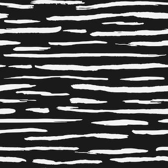 Hand drawn white ink stripe backdrop. artistic brush stripes seamless pattern on black background. vector illustration
