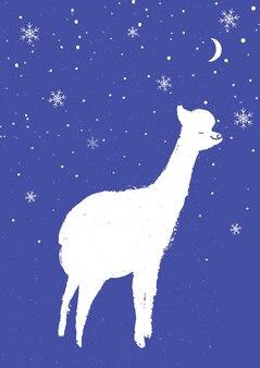 紫の背景に手描きの白いラマ。ふわふわの楽しい動物カードデザイン。