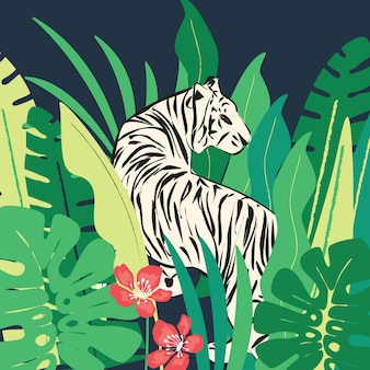 Hand drawn white tiger with exotic tropical leaves