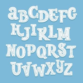 青の後ろにステッチと影のある手描きの白い上文字フォント