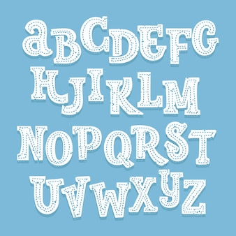 Hand drawn white upper letters font with stitching and shadow behind on blue