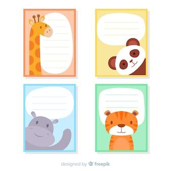 Hand drawn wild animal card collection