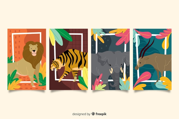 Hand drawn wild animal card collection