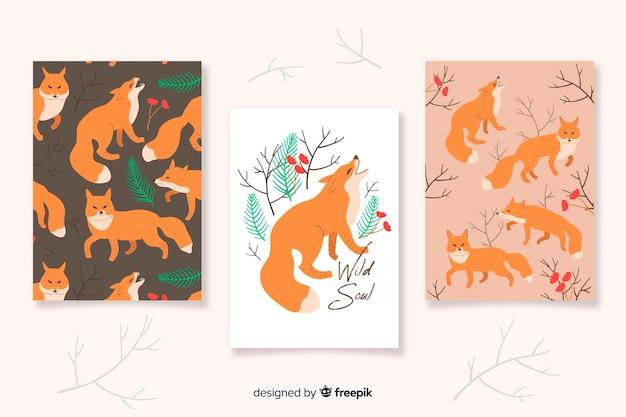 손으로 그린 야생 동물 카드 컬렉션