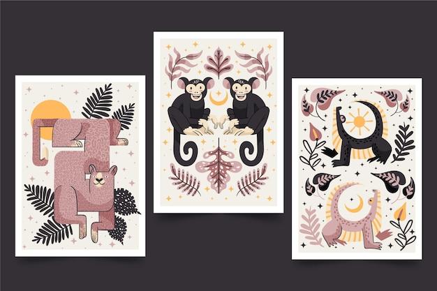 Confezione di copertine di animali selvatici disegnati a mano