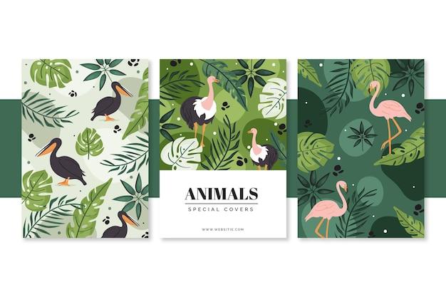 손으로 그린 야생 동물 커버 컬렉션