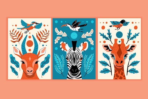 Hand drawn wild animals covers collection