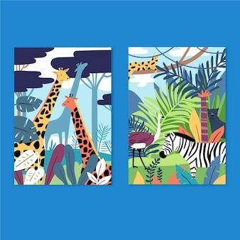 手描きの野生動物がコレクションをカバー