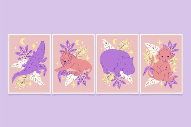 Нарисованные от руки обложки диких животных