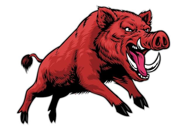 손으로 그린 된 멧돼지 마스코트