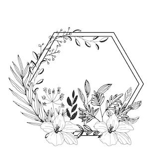 Нарисованная рукой иллюстрация поздравительной открытки дикого цветка с линией искусства и шестиугольной рамкой