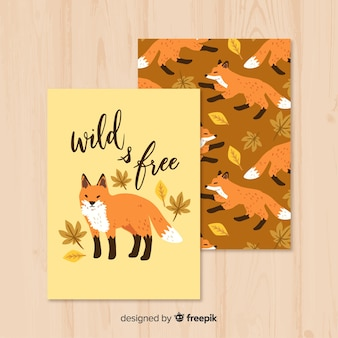 Hand drawn wild fox card in the nature