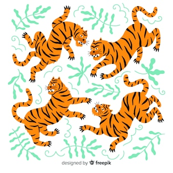 Hand drawn wild tiger collection