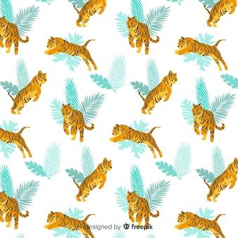 손으로 그린 야생 호랑이 패턴