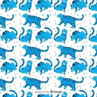 Hand drawn wild tiger pattern
