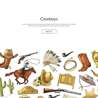 Hand drawn wild west cowboy elements background with place for text