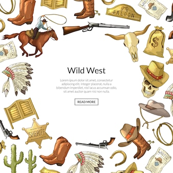 Hand drawn wild west cowboy elements with place for text illustration