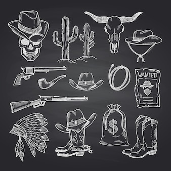 Hand drawn wild west cowboy set