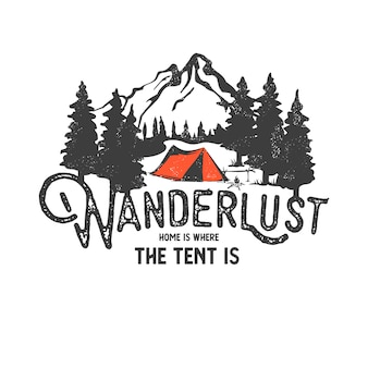 Hand drawn wilderness badge with mountain landscape and inspiring lettering