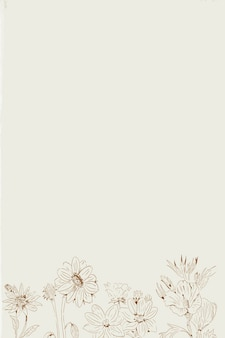 Ручной обращается полевые цветы с рисунком на бежевом фоне шаблона