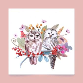 フクロウの水彩風の手描きの野生動物セット。