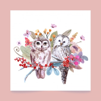 Hand-drawn wildlife set of owls watercolor style.