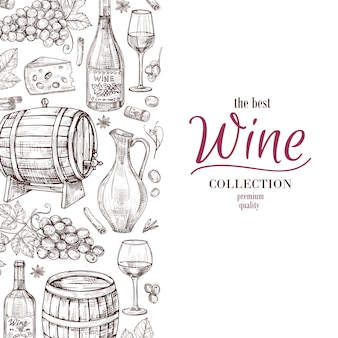 Hand drawn wine background
