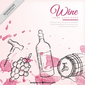 Hand drawn wine elements background with watercolor stains