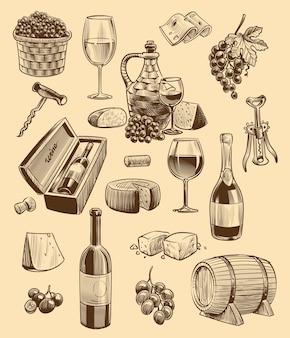 손으로 그린 와인 세트. 병 및 와인잔의 조각 이미지, 잎과 슬라이스 치즈가 있는 포도 다발, 코르크 마개와 나무 통, 레스토랑 또는 카페 메뉴를 위한 벡터 스케치 스타일 컬렉션