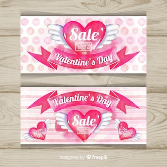 Hand drawn winged heart valentine sale banner